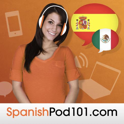 Woman using SpanishPod101 with earphones