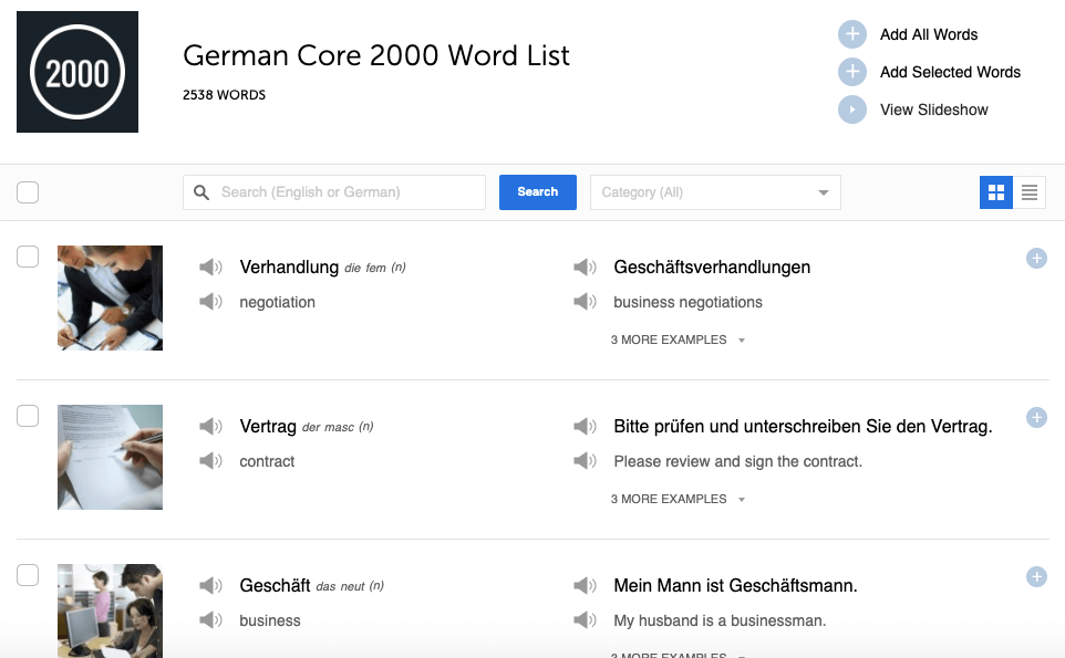 Lookup the 2000 most frequently used German words