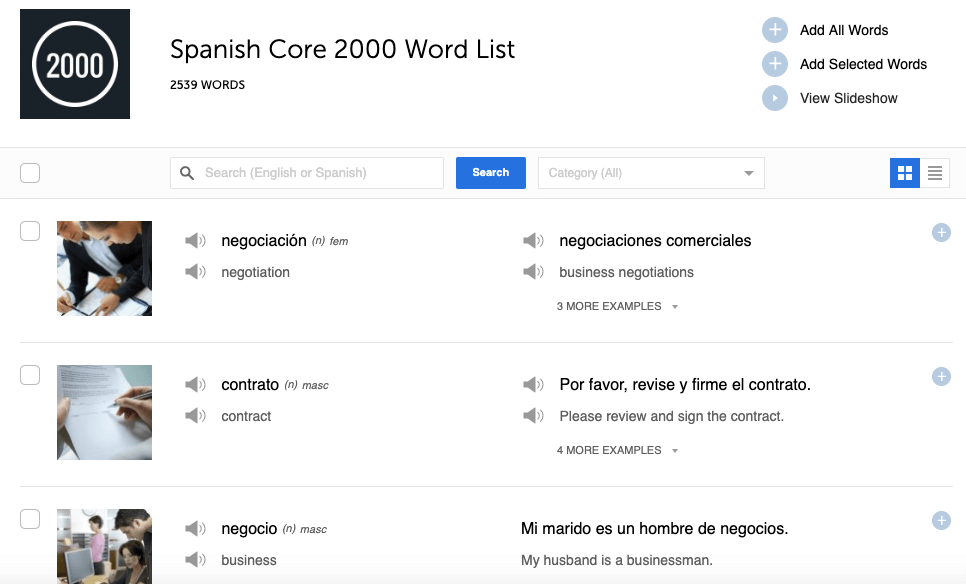 Search from 2000 of the most important Spanish words